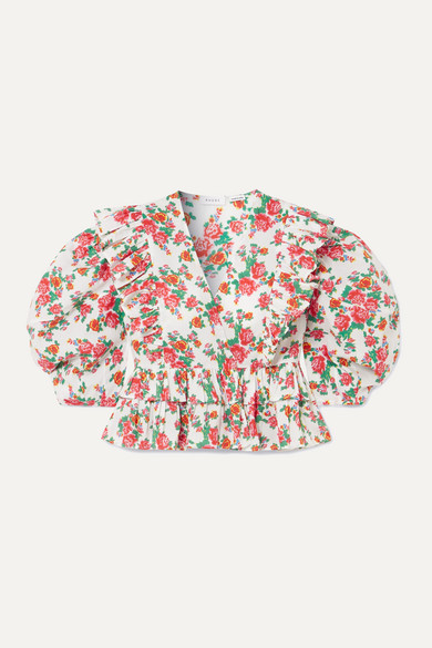 Rhode   Rhode - Elodie Cropped Ruffled Floral-print Cotton-voile Blouse - White   Clouty