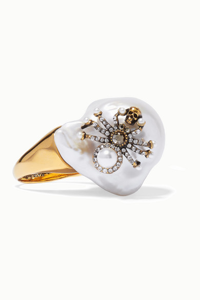 Alexander McQueen | Alexander McQueen - Gold-tone, Crystal And Pearl Ring - White | Clouty