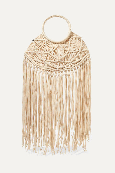 Nannacay | Nannacay - + Net Sustain Manu Fringed Crocheted Tote - Cream | Clouty