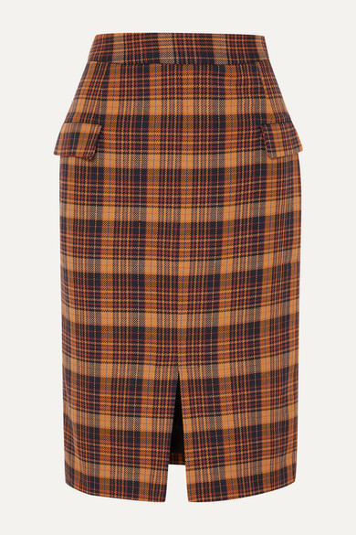 REMAIN Birger Christensen   REMAIN Birger Christensen - Maine Checked Cotton-blend Pencil Skirt - Orange   Clouty