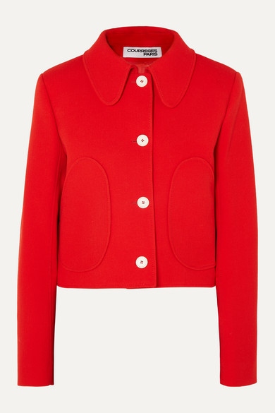 Courrèges | COURREGES - Cropped Wool-twill Jacket - Red | Clouty
