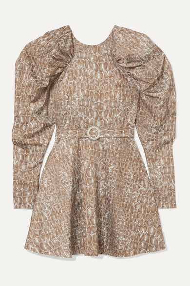 Rotate Birger Christensen | ROTATE Birger Christensen - Belted Gathered Animal-print Matte-satin Mini Dress - Snake | Clouty