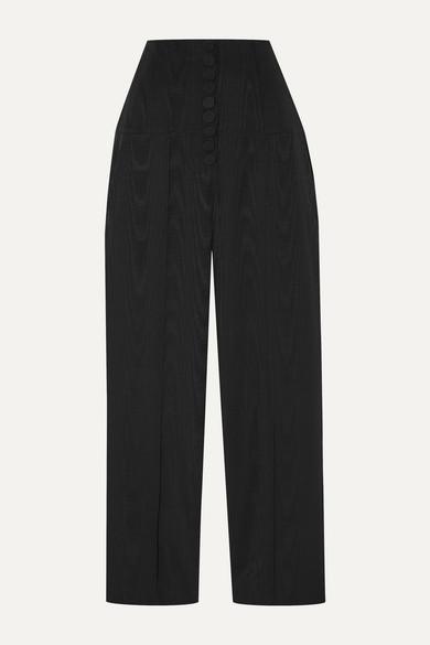 Racil | Racil - Stevie Cotton And Silk-blend Moire Straight-leg Pants - Black | Clouty