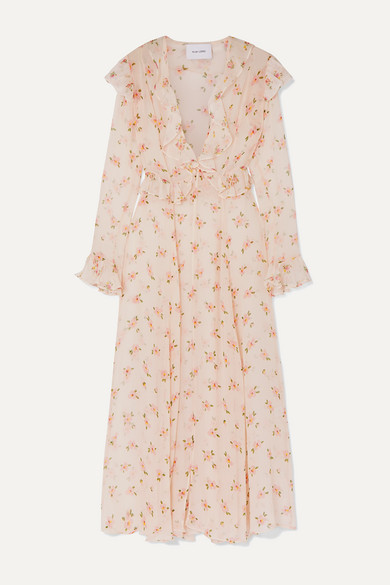 we are LEONE | we are LEONE - Marlowe Ruffled Floral-print Silk-chiffon Robe - Cream | Clouty
