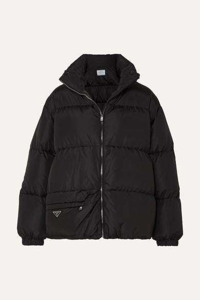 PRADA | Prada - Hooded Quilted Nylon Down Coat - Black | Clouty