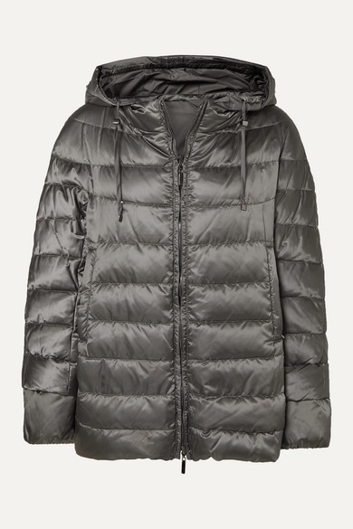 MAX MARA   Max Mara - The Cube Hooded Quilted Shell Down Coat - Gray   Clouty