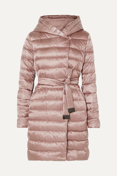 MAX MARA | Max Mara - The Cube Hooded Belted Quilted Shell Down Coat - Pink | Clouty