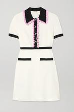Фото Miu Miu - Crystal-embellished Ruffled Stretch-cady Mini Dress - Ivory