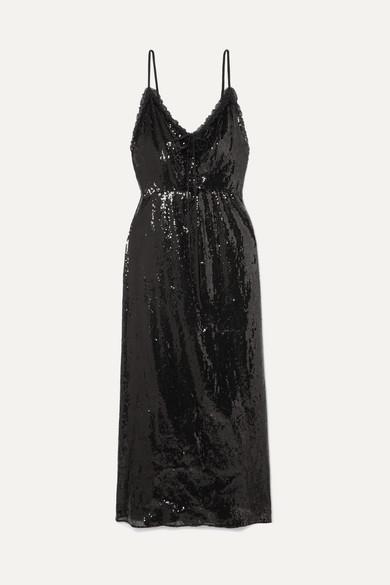 MIU MIU | Miu Miu - Open-back Lace-trimmed Sequined Crepe Midi Dress - Black | Clouty