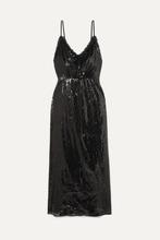 Фото Miu Miu - Open-back Lace-trimmed Sequined Crepe Midi Dress - Black