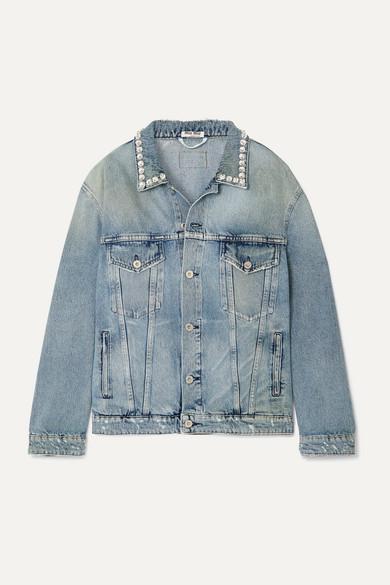 MIU MIU | Miu Miu - Oversized Crystal-embellished Denim Jacket - Blue | Clouty