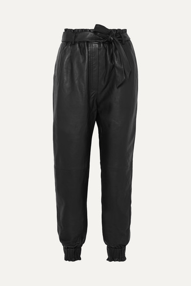 Munthe | MUNTHE - Houdini Belted Tapered Leather Pants - Black | Clouty