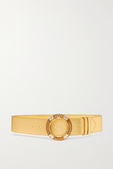 MIU MIU | Miu Miu - Crystal-embellished Metallic Leather Belt - Gold | Clouty