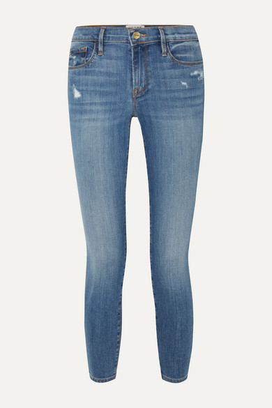 Frame | FRAME - Le Skinny De Jeanne Crop Distressed Mid-rise Jeans - Blue | Clouty