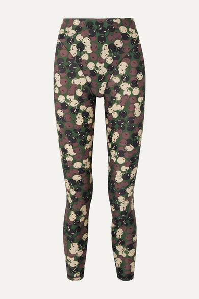 Adam Selman Sport | Adam Selman Sport - Printed Stretch Leggings - Green | Clouty