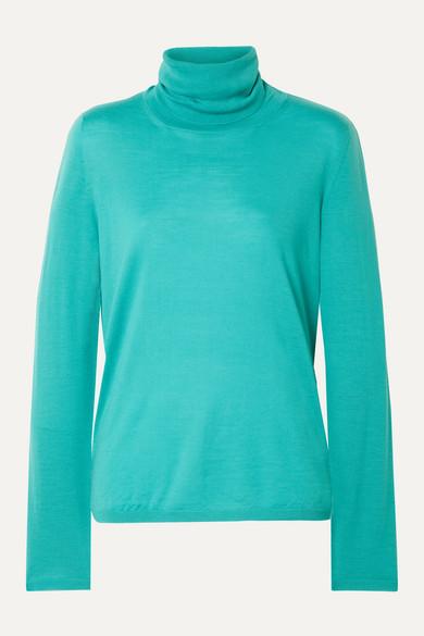 MAX MARA | Max Mara - Wool Turtleneck Sweater - Turquoise | Clouty