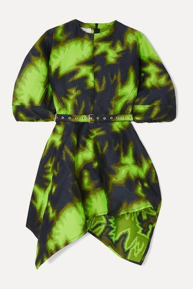 MARQUES'ALMEIDA | Marques' Almeida - Belted Asymmetric Printed Brocade Mini Dress - Lime green | Clouty