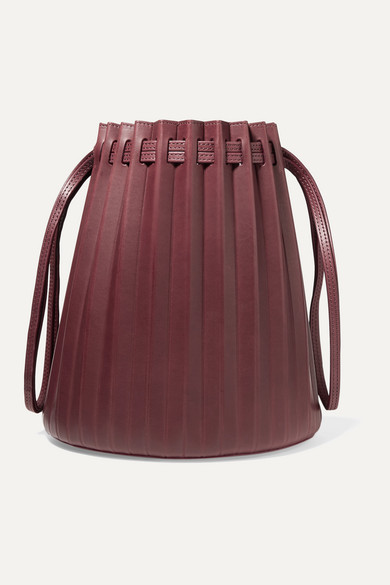 Mansur Gavriel | Mansur Gavriel - Pleated Leather Bucket Bag - Burgundy | Clouty
