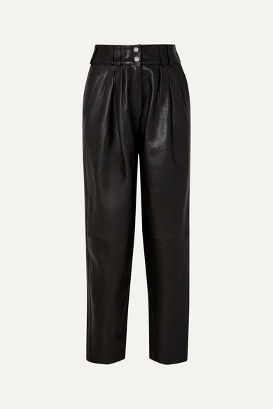 BALMAIN | Balmain - Pleated Leather Tapered Pants - Black | Clouty
