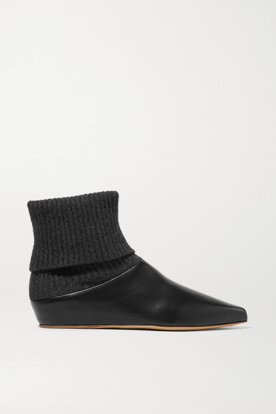 Gabriela Hearst | Gabriela Hearst - Rocia Leather And Cashmere Sock Boots - Black | Clouty