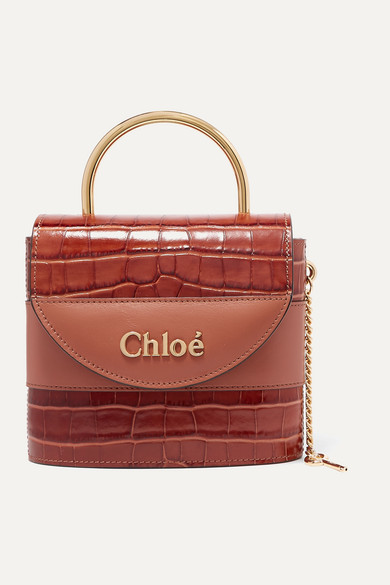 Chloé   Chloe - Aby Lock Small Croc-effect Leather Shoulder Bag - Brown   Clouty