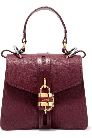 Chloé | Chloe - Aby Small Textured And Smooth Leather Tote - Burgundy | Clouty