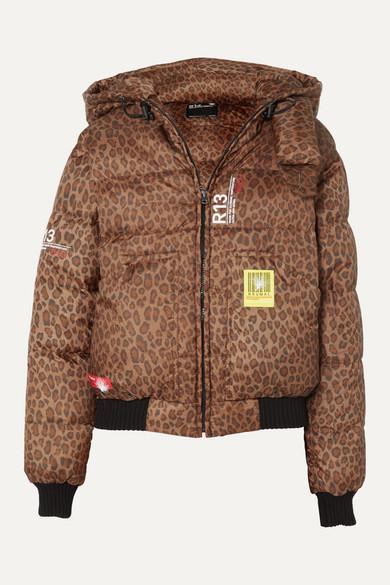 Brumal | Brumal - + R13 Hooded Leopard-print Shell Down Bomber Jacket - Brown | Clouty