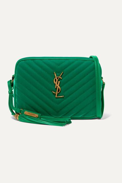 SAINT LAURENT | SAINT LAURENT - Lou Medium Leather-trimmed Quilted Velvet Shoulder Bag - Emerald | Clouty