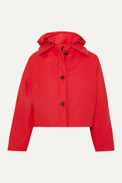 Kassl Editions | Kassl Editions - Cropped Hooded Cotton-blend Shell Jacket - Red | Clouty