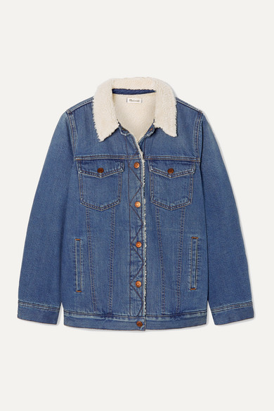 Madewell | Madewell - Faux Shearling-trimmed Denim Jacket - Mid denim | Clouty