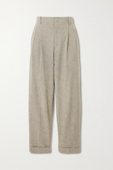 Isabel Marant Étoile   Isabel Marant Etoile - Lowea Checked Cotton And Linen-blend Tapered Pants - Pastel yellow   Clouty