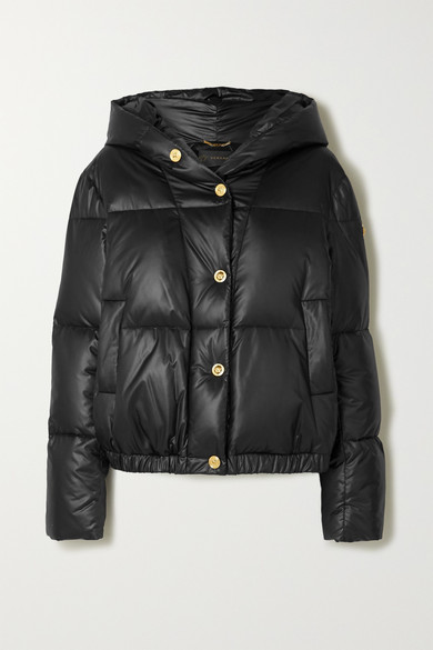 Versace | Versace - Hooded Printed Quilted Shell Down Jacket - Black | Clouty