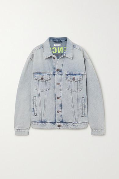 Balenciaga | Balenciaga - Oversized Embroidered Denim Jacket - Blue | Clouty