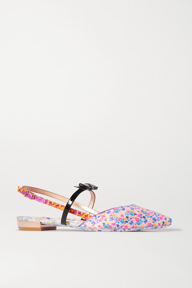 SOPHIA WEBSTER | Sophia Webster - Laurellie Floral-print Satin And Patent-leather Slingback Point-toe Flats - Pink | Clouty