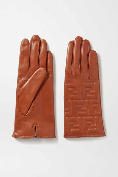 FENDI | Fendi - Embossed Leather Gloves - Brass | Clouty