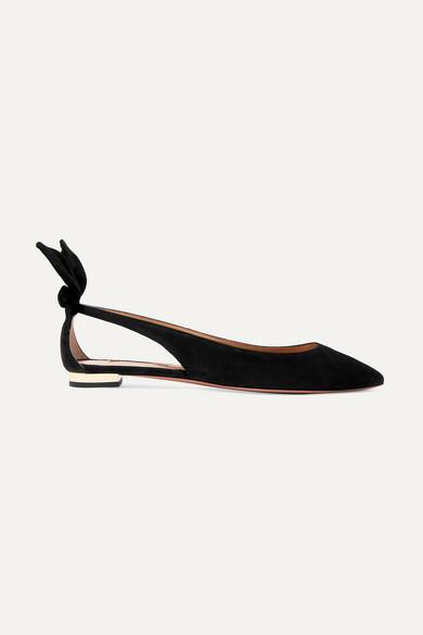 Aquazzura | Aquazzura - Bow Tie Suede Point-toe Flats - Black | Clouty
