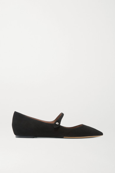 Tabitha Simmons | Tabitha Simmons - Hermione Suede Point-toe Flats - Black | Clouty