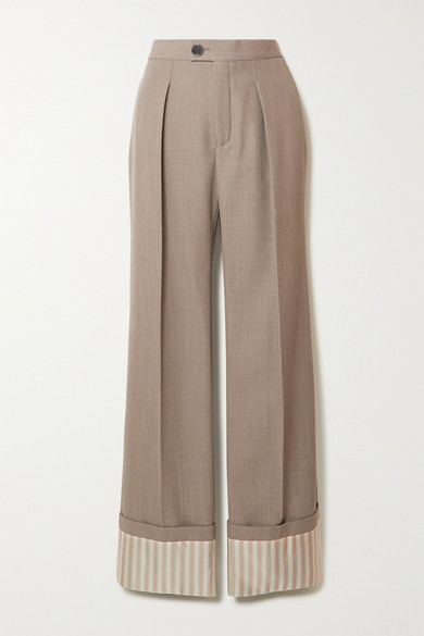 Chloé | Chloe - Pleated Wool And Pinstriped Silk Wide-leg Pants - Green | Clouty