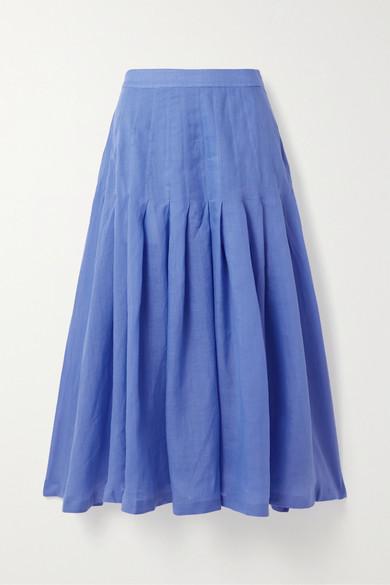 Three Graces London | Three Graces London - Elisha Pleated Ramie Midi Skirt - Blue | Clouty