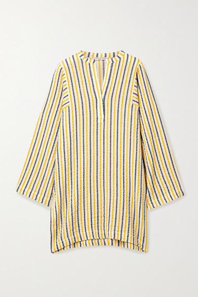 Three Graces London | Three Graces London - Belinda Striped Cotton And Linen-blend Gauze Kaftan - White | Clouty