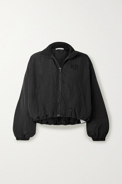 T by Alexander Wang | alexanderwang.t - Cropped Embroidered Shell Jacket - Black | Clouty