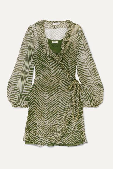 Cloe Cassandro   Cloe Cassandro - + Net Sustain Kimi Ruffled Zebra-print Silk-crepon Wrap Mini Dress - Army green   Clouty