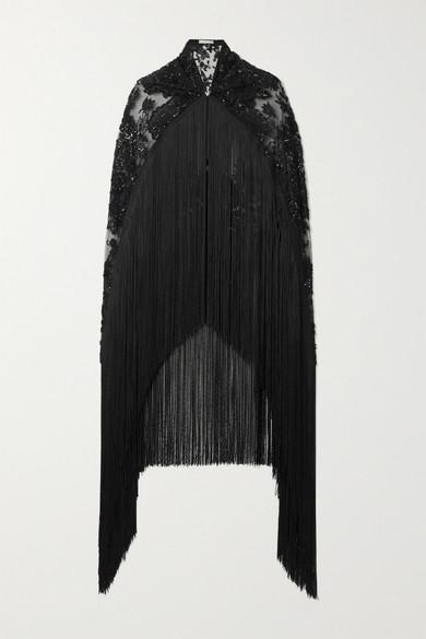 Naeem Khan | Naeem Khan - Fringed Embellished Embroidered Tulle Cape - Black | Clouty