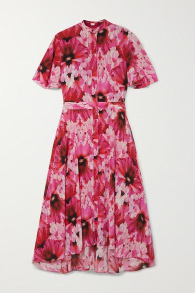 Alexander McQueen   Alexander McQueen - Floral-print Silk-georgette Midi Dress - Pink   Clouty