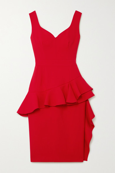 Alexander McQueen | Alexander McQueen - Ruffled Wool-blend Peplum Dress - Red | Clouty
