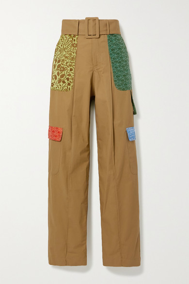 Rosie Assoulin | Rosie Assoulin - Belted Jacquard-trimmed Cotton Wide-leg Pants - Camel | Clouty