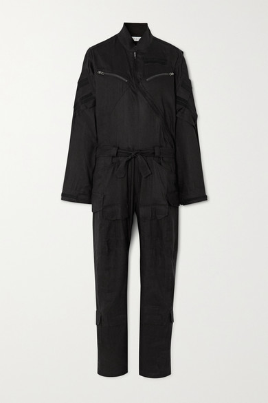 TRE by Natalie Ratabesi | TRE by Natalie Ratabesi - Belted Linen-blend Twill Jumpsuit - Black | Clouty