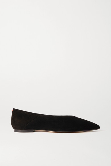 Aeyde | aeyde - Moa Suede Point-toe Flats - Black | Clouty