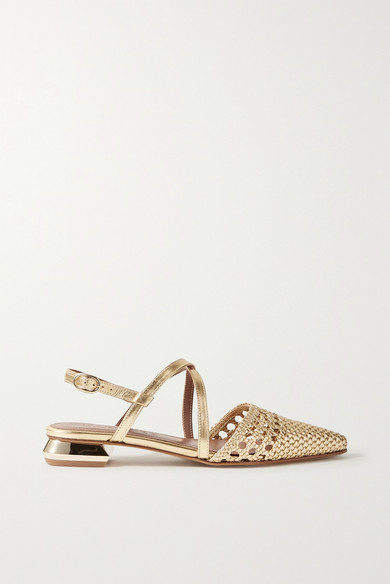 Souliers Martinez   Souliers Martinez - Es Verda Woven Metallic Leather Point-toe Flats - Gold   Clouty