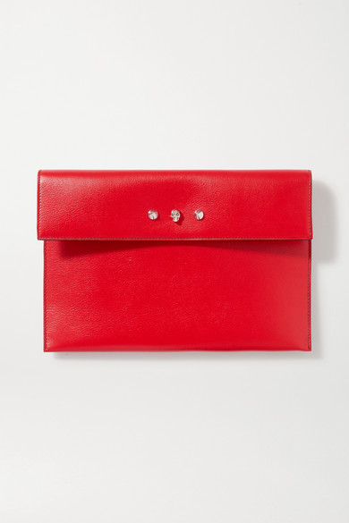 Alexander McQueen | Alexander McQueen - Embellished Textured-leather Pouch - One size | Clouty